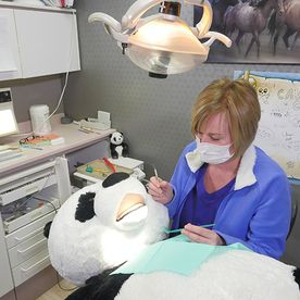 Our friendly panda likes getting his teeth cleaned