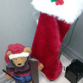 Christmas decorations | Stockingand plush bear
